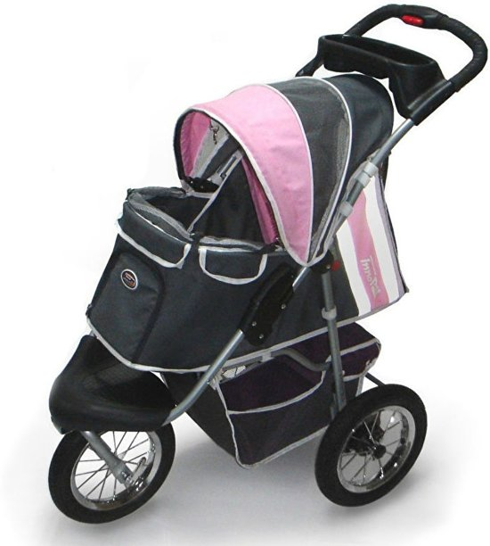 Afbeelding van de InnoPet Hondenbuggy Comfort, een roze en zwart-gekleurde buggy