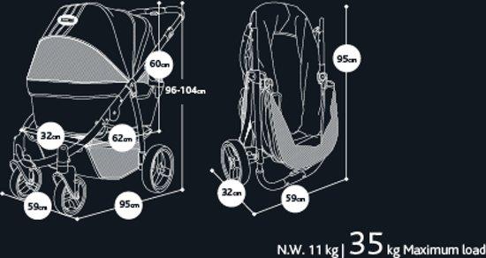 Afbeelding van de  afmetingen van de Retro buggy, uitgeklapt en ingeklapt