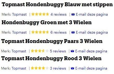 Afbeelding van de reviews van de Topmast Hondenbuggy per versie