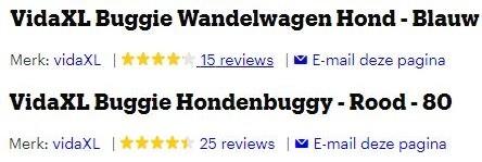 Plaatje van de reviews van de VidaXL rood en blauw, 4/5 sterren en 4.5/5 sterren