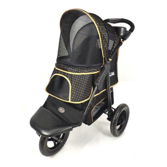 Afbeelding van de Innopet Adventure hondenbuggy van de voorkant gezien, zwart met gele stippen als kleur