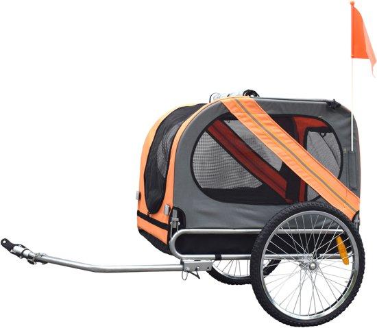 Afbeelding van de derde goedkope hondenfietskar op de lijst: de Oranje Duvo+ fietskar