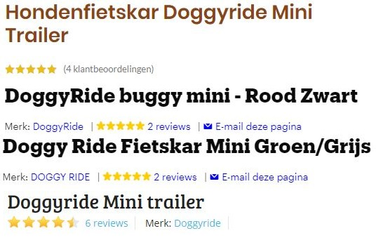 Afbeelding met beoordelingen van de DoggyRide Mini. Alle klant-reviews zijn gemiddeld 4,5 tot 5 sterren