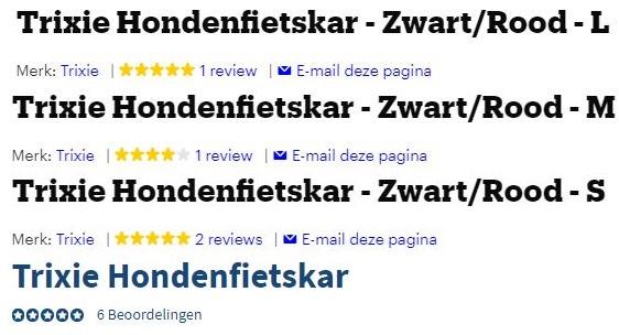 Alle reviews van elke Trixie Hondenfietskar op een rij, alle reviews hebben 4 tot 5 sterren