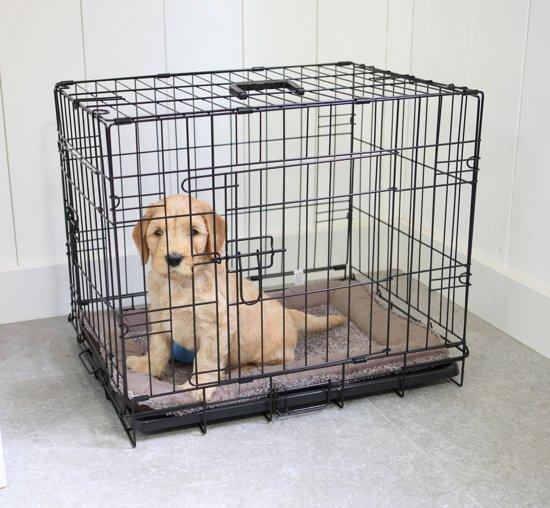 Afbeelding van de meest goedkope hondenbench op de lijst met een klein hondje erin