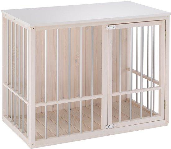 Afbeelding van houten luxe hondenbench, leeg
