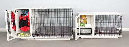 Afbeelding van twee formaten Studio hondenbench met kast: 24 en 36 inch