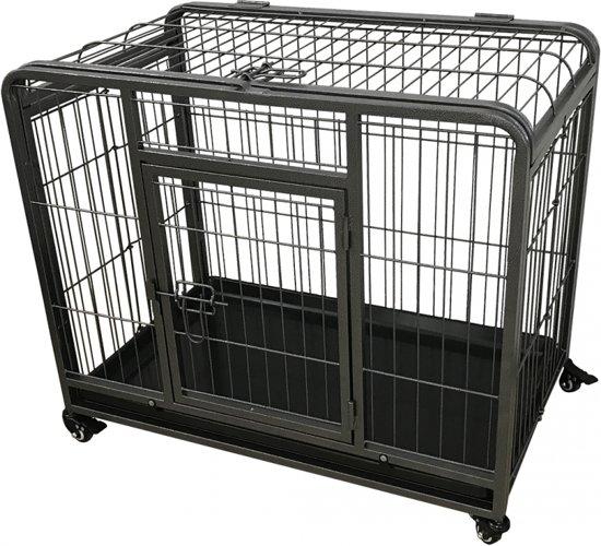 Afbeelding van stevige zware metalen hondenbench op wieltjes