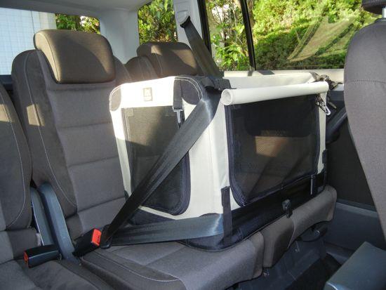 Afbeelding van de Maelson soft kennel vastgemaakt in de auto met een riem
