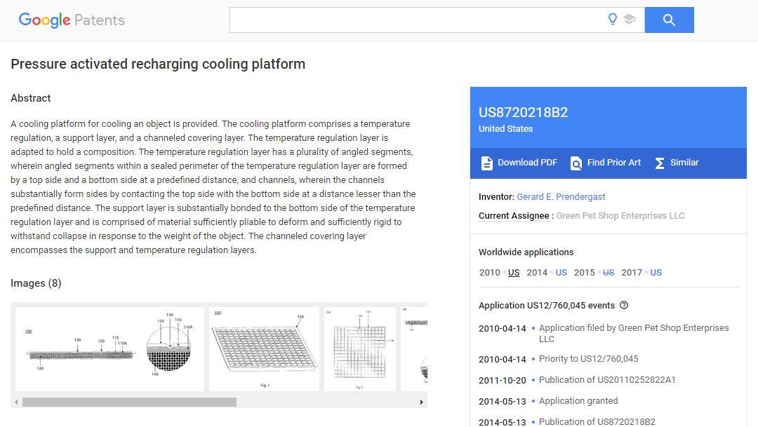 Afbeelding van het patent bij Google voor een koelmat voor je hond