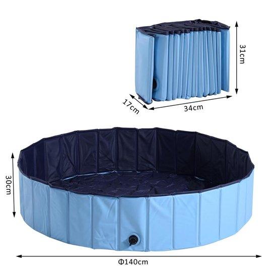 Afbeelding van afmetingen van het PlayGoodz zwembad: Uitgeklapt: 140 cm bij 30 cm. Ingeklapt: 17 cm bij 34 cm bij 31 cm.