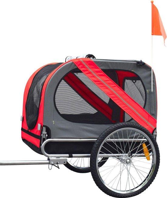 Afbeelding van een rode hondenfietskar