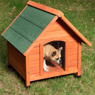 Afbeelding van het Spike Comfort hondenhok buiten met hondje