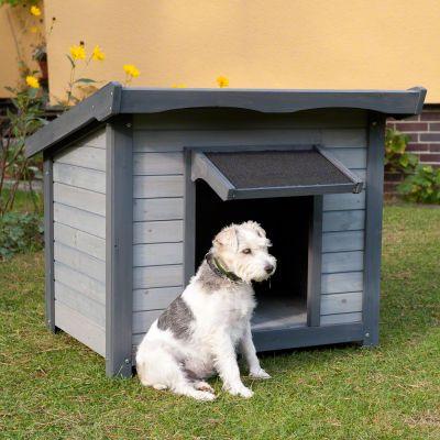 Afbeelding van het Hondenhok Sylvan buiten met een hondje