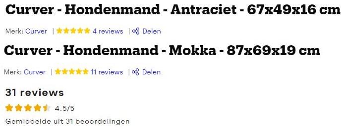 Afbeelding van review-scores van de Curver Hondenmand: 5 sterren met 4 reviews (Bol.com) 5 sterren met 11 reviews (Bol.com) 4.5 sterren met 35 beoordelingen (Medpets.nl)