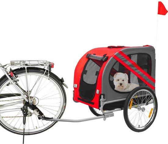 Afbeelding van de opvouwbare Karlie Doggy Liner fietskar met hond erin