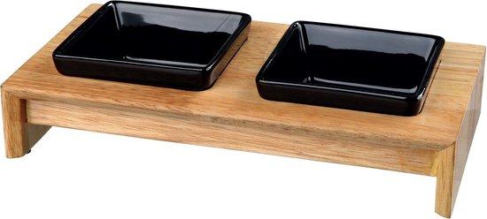 Afbeelding van de houten Trixie voerset met zwarte voerbakken
