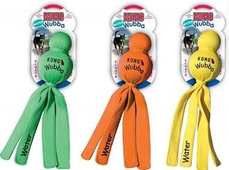 Afbeelding van het Kong waterspeelgoed: Wubba in drie kleuren (groen, oranje en geel)