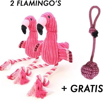 Afbeelding van 2 knuffel flamingo's en een trektouw