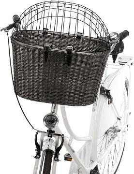 Afbeelding van de Trixie Hondenfietsmand voorop een fiets